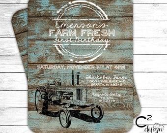 Vintage Tractor Birthday Invitation