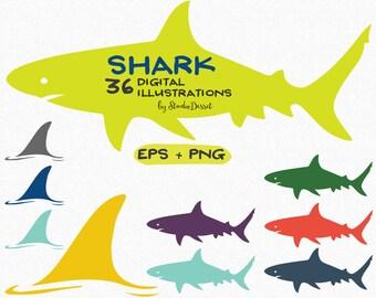 Shark Cliparts, Shark Fin Clip Art, Shark day Illustrations, Digital Summer Cliparts, Shark Graphics, Sea, Ocean, Sea Animals Vector C231