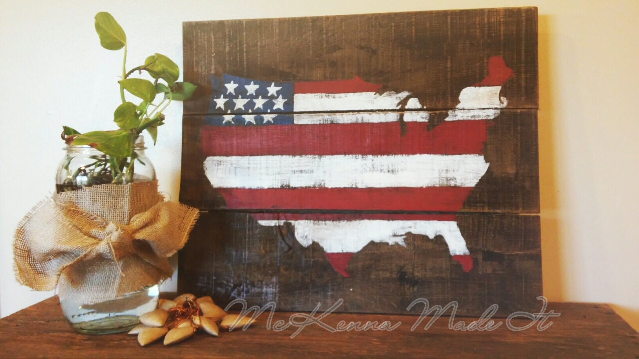 United states flag wood sign americana decor red white and for Americana decoration