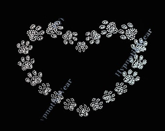 "Rhinestone Transfer ""Heart made with Paws "" Hotfix, Iron On, Bling"