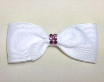 Hair Bow- White Bow with Pink Rhinestones