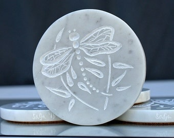 Marble coasters Hand carved natural stone Dragon fly design home decoration