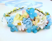 Daisy Flower Crown Aqua Blue Baby Blue Floral Crown Turquoise Flower Headband Wedding Flower Crown Hair Accessories Bridal Flower Crown