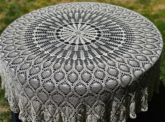Round Crochet Tablecloth Vintage Style Crochet Pineapple