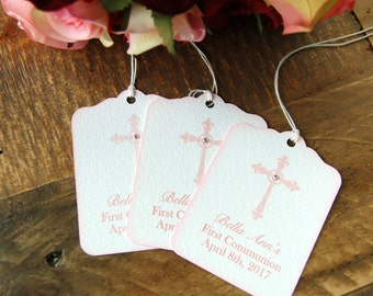 Baptism favor tags, First communion thank you tags, pink christening gift tags, Religious favor tags, Baptism tags