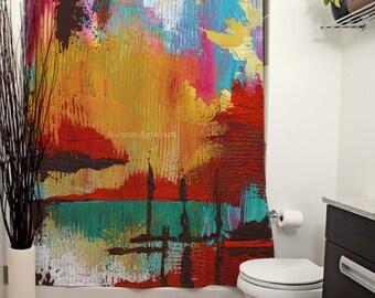 Fire in the Sky Printed Shower Curtain, Art Bathroom Decor, Bath Curtain, Abstract Art Decor, Modern Art Decor, Knife Painting, Colorful