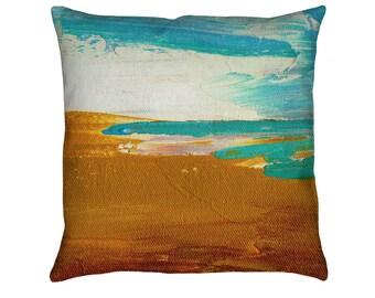 Dockweiler Beach Printed Throw Pillow. Cushion Cover, Apartment and Dorm Decor, Sofa Cushion, Modern Art, Painting, California, Nautical