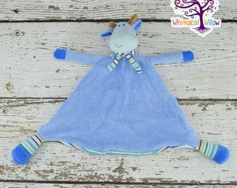Blue Giraffe Pastel Snuggle Buddy Lovey Blanket