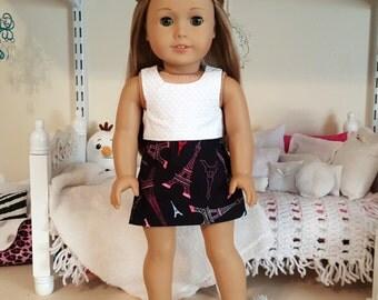 18 inch doll black paris skirt