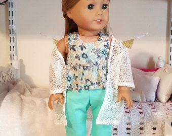 american girl doll pants, top, and kimono