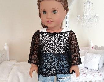 american girl doll black top