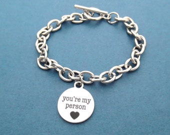 You're my person, Toggle, Chain, Bracelet, Bulky, Chain, Bracelet, Cute, Minimal, Friendship, Best friends, Mom, Gift, Jewelry