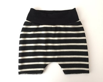 Black and white striped harem shorts, boys shorts, beach shorts, baby boy shorts, toddler boy shorts