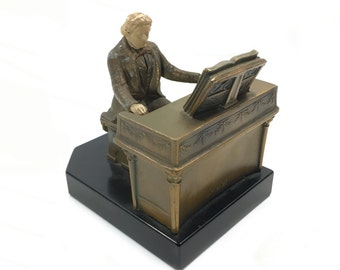 Vintage Beethoven Playing Piano Cast Metal Bookend on Stone Base by JB Hirsch, circa 1932
