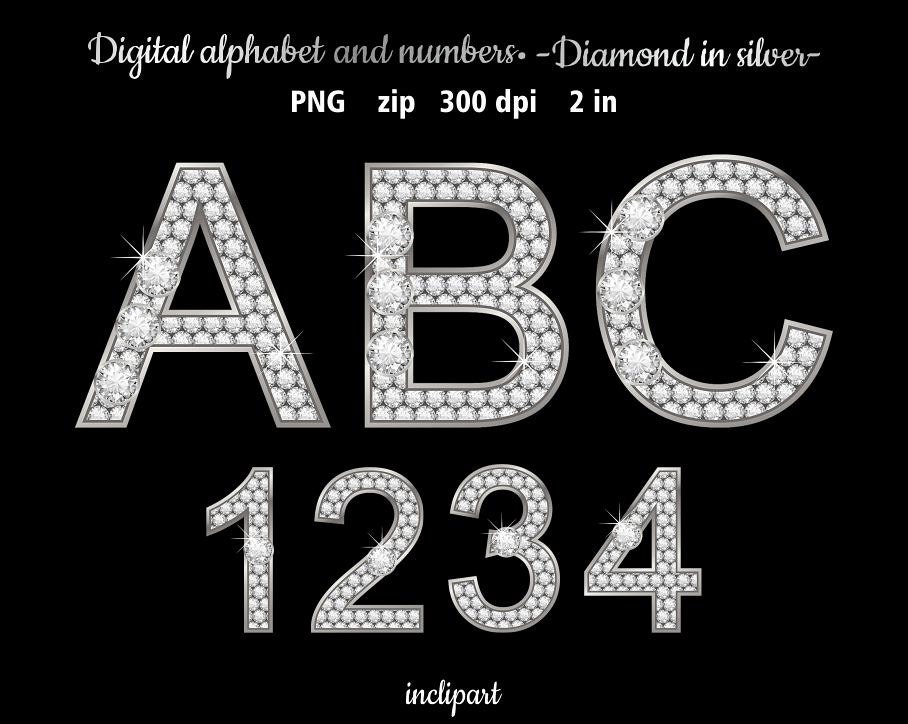 Diamond in silver alphabet clipart. Rhinestone letters and