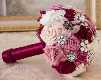 Bridal Brooch Bouquet, Wine and Blush  Bridal Bouquet, Wedding Bouquet, Bridal Accessories, Bridesmaids Flowers