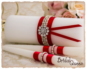 Red Unity Candle, Unity Wedding Candle Set, Red Bling Monogram, Red Unity Candle Set, Elegant Wedding Candle Set, Red Wedding Unity Set