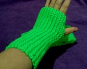 Neon Green Mitts, winter accessories, knit, winter mitts, fingerless gloves, hand warmers, handmade, driving gloves