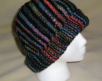 Earth Tones and Black Knit Short Rows Hat