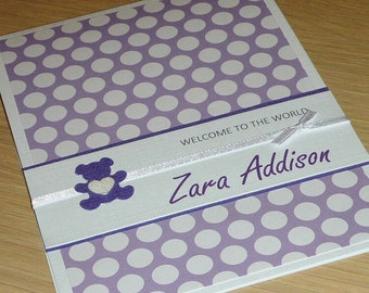 Personalised Baby Girl card with teddy bear - welcome to the world - custom made - purple and white - handmade greeting card - Gorgeous!