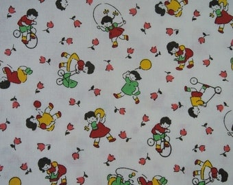 "Fat Quarter of 2015 Lecien Retro 30's Kids Fabric in White. Approx. 18"" x 22"" Made in Japan"