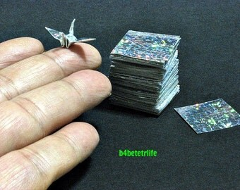"""300 Sheets Silver Color 1-inch Origami Crane Paper Folding Kit. 1"""" x 1"""". (4D Glittering paper series). #CRK-79."""