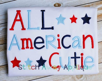 All American Cutie Patriotic Fourth of July Machine Embroidery Design