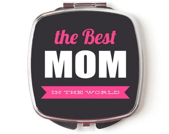 Best Mom Compact Mirror - Mother's Day Gift - Compact Mirror - Pink Pocket Mirror