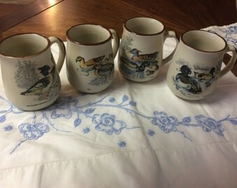 Set of four Pottery  Duck Mugs
