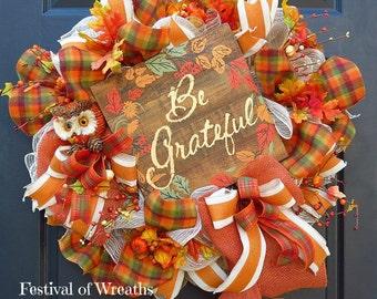 Fall Wreath - Fall Deco Mesh Wreath - Fall Front Door Wreath - Thanksgiving Wreath - Deco Mesh Wreath - Mesh Wreath - Door Wreath