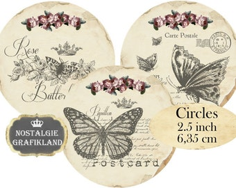 Butterflies Butterfly Vintage Insect Papillon Circles 2.5 inch Instant Download digital collage sheet C176