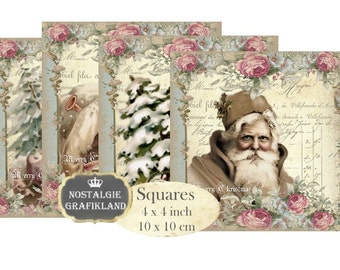 Santa Claus Christmas digital Shabby Chic printable Pere Noel Coaster Squares 4x4 inch Instant Download digital collage sheet TG108