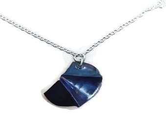 Fold formed copper and sterling silver, blue pendant