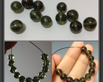 Moldavite beads/ discounted/ size 7mm