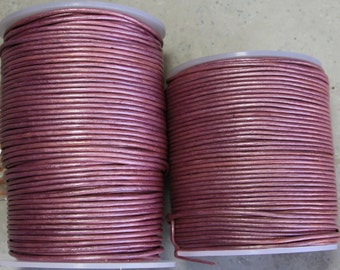 1.5mm metallic pink leather- 25 meters/81.25 feet