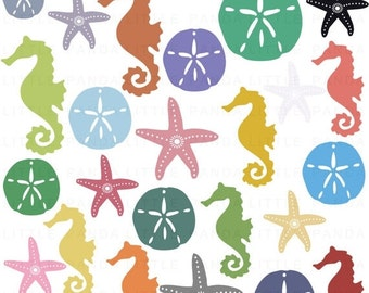 70% OFF SALE Sand Dollar Seahorse Starfish Digital Clip Art - Personal and Commercial Use - Instant Download - D332