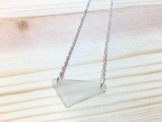 Asymmetrical Frosty White Seaglass Necklace