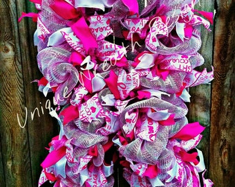 Breast Cancer Awarness Wreath, Breast Cancer Wreath, Pink Ribbon Wreath