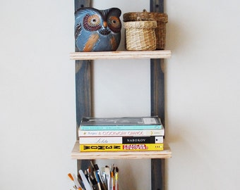 Reclaimed Plywood Thin Bookshelves, Wall Shelf, Storage- Gray