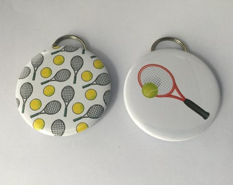 Tennis Bottle Opener Keyrings, pocket mirrors and magnets, gifts for tennis, tennis gifts, can be customized with name