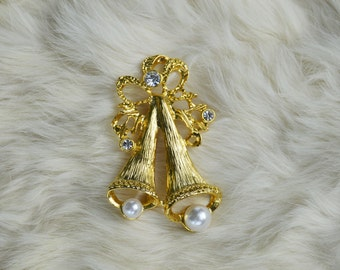 Vintage Gold Bells Brooch with Faux Pearls and Rhinestones