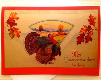 Thanksgiving Greeting Card - Vintage Thanksgiving Card - Vintage Postcard - Vintage Turkey Card - Thanksgiving Holiday Card