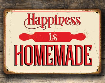 HAPPINESS IS HOMEMADE Sign, Vintage style Happiness Is Homemade sign, Home Sign, Kitchen Decor, Home Decor, House Warming Gift, Homemade