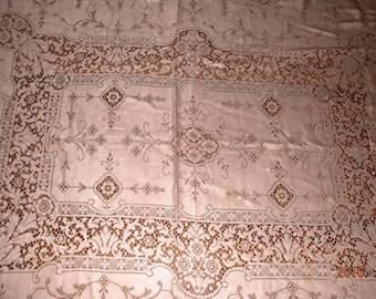 "Gorgeous Quaker lace tablecloth no. 5120 cotton circa 40-50's era~65x77"""