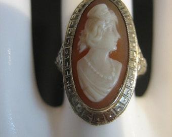 Vintage Estate Art Deco 14K White Gold Cameo Filigree Ring Setting/Mounting Size 5