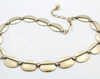 Antique Sterling Silver and 14K Gold Art Deco Collier Necklace Signed Symmetalic. [7279]