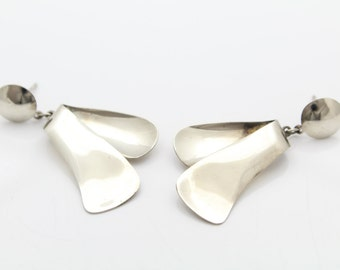 Handmade Sterling Silver Curved Fold Form Drop Earrings. [7308]