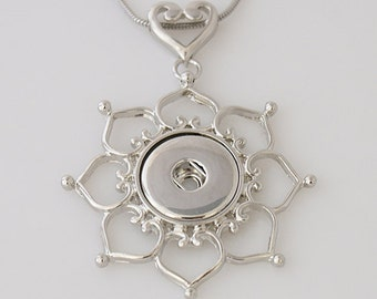 Large Silver Pendant with Heart Bale for Snap-It Charms ~ With or Without Chain