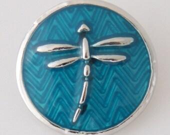KB7715  Silver Dragonfly Set on Herringbone Enamel