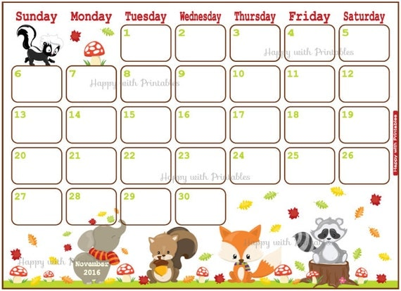 Happy With Printables Calendar November : Sale printable calendar november by happywithprintables